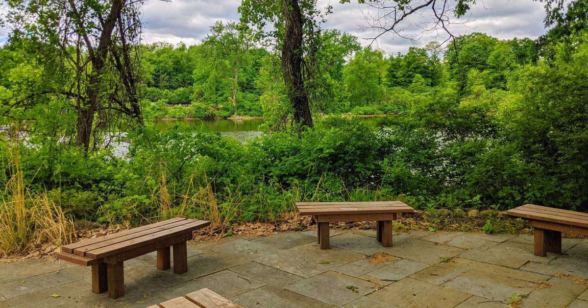 benches by trail overlooking water