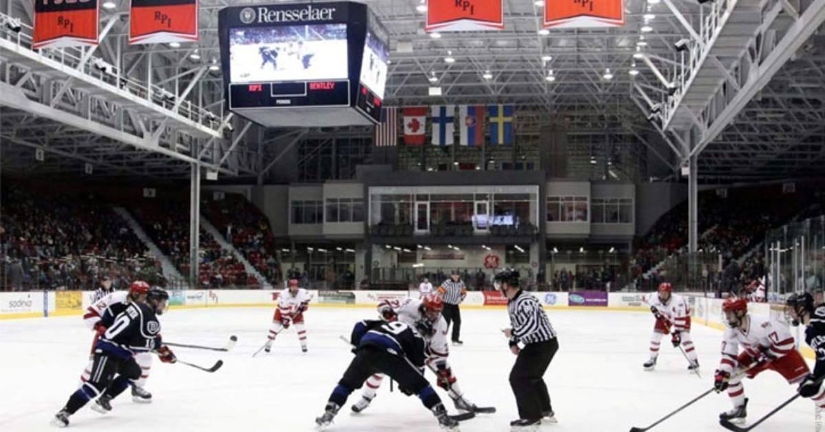 indoor hockey game in arena