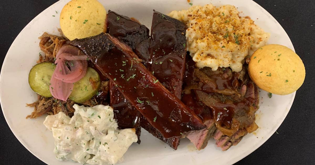 plate of BBQ food