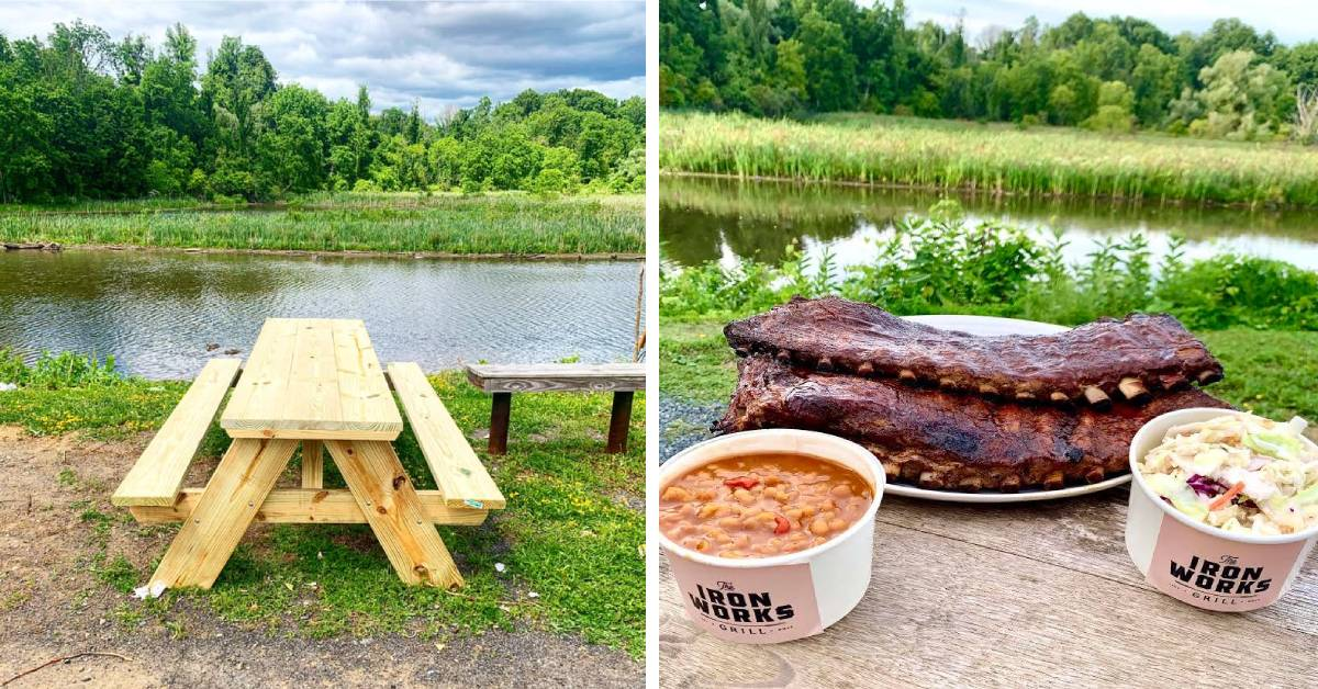 left table of picnic table and right photo of bbq and side dishes