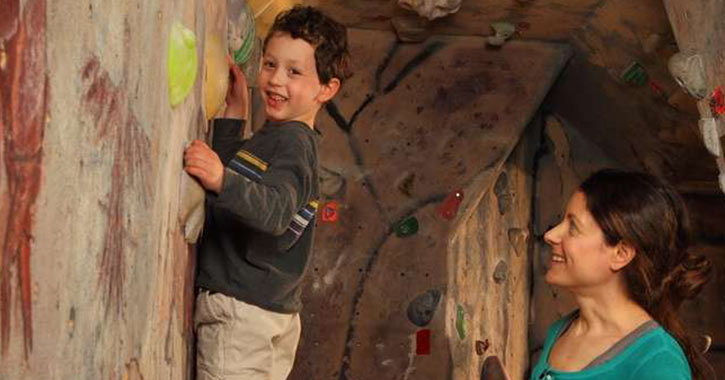 Child climbing at Albany's Indoor Rockgym