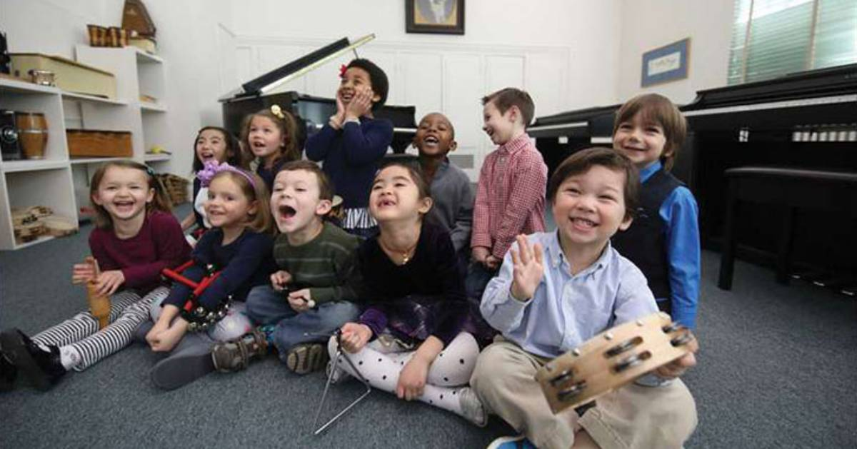 group of kids in a music room