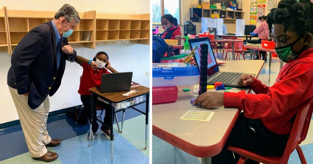 split image with teacher giving kid elbow bump on the left and kids at desks on the right