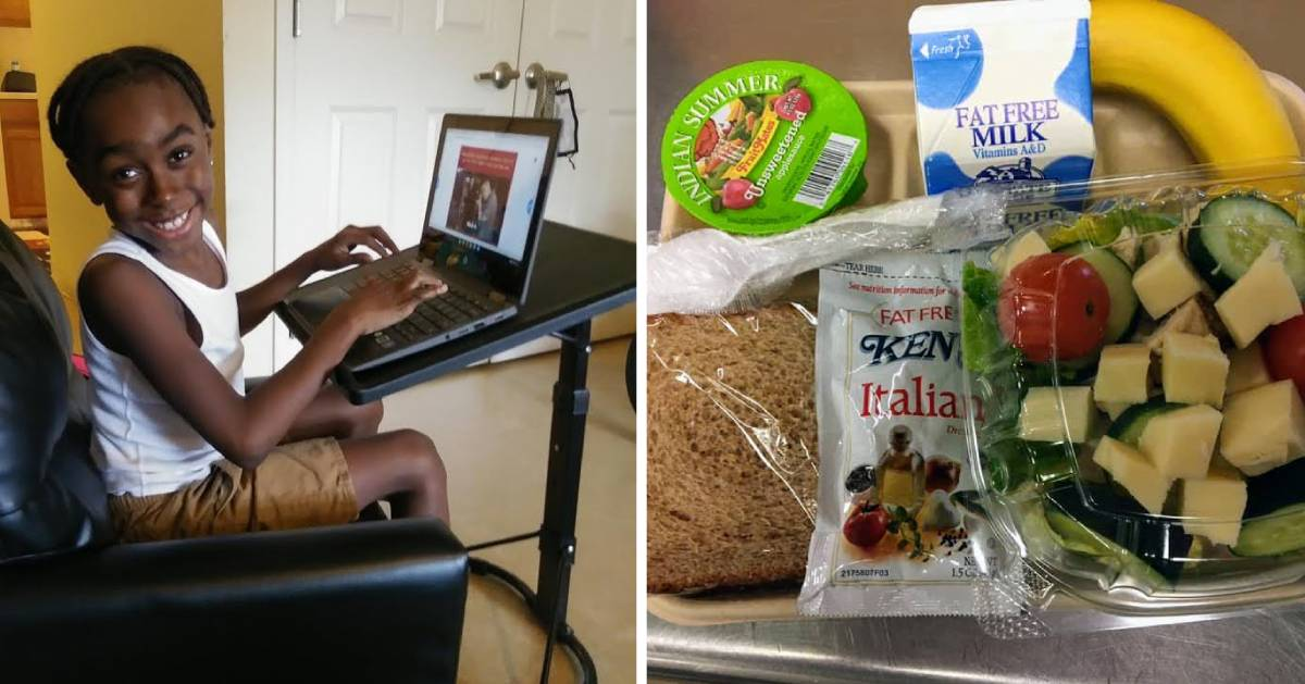 split image with student at home on computer on the left and a school lunch with salad on the right