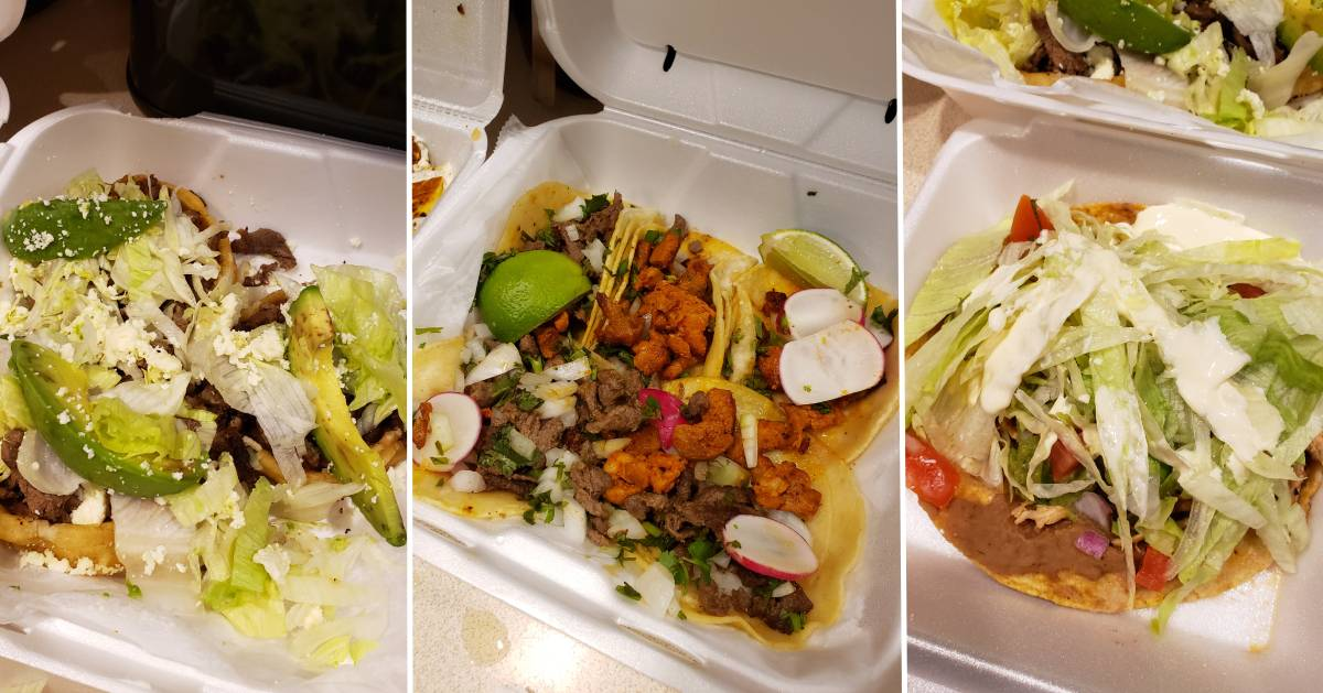 three images side by side of takeout Mexican meals