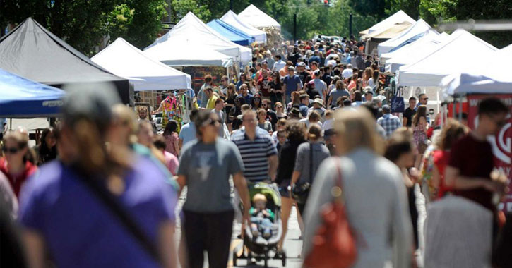 crowds and vendor booths at LarkFest