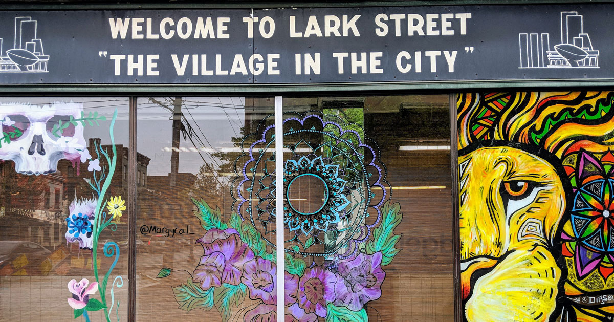 Lark Street window and sign