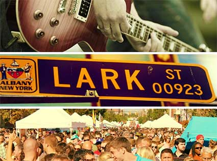an image broken out into three pictures, the top with a guitar, the middle with a Lark Street sign, the bottom with crowds at LarkFest