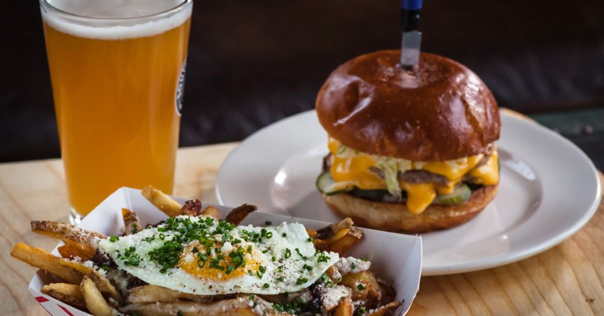 fries, burger, and beer