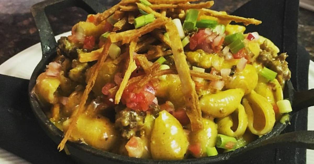 a bowl of taco mac and cheese