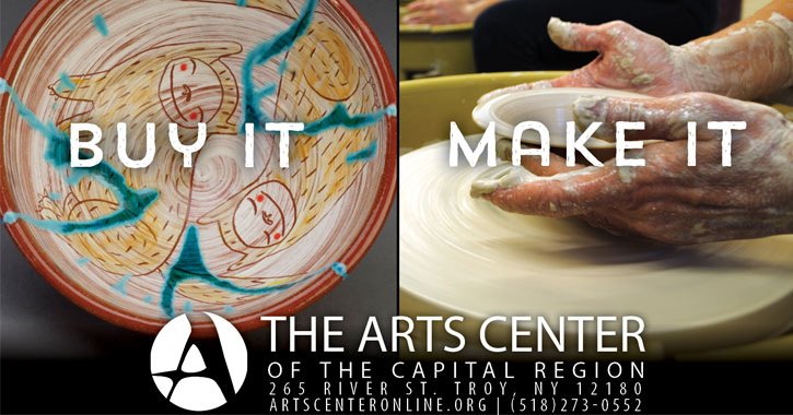 Arts Center logo with a completed bowl on the left with text saying buy it, and a bowl in progress in the right with the text saying make it.