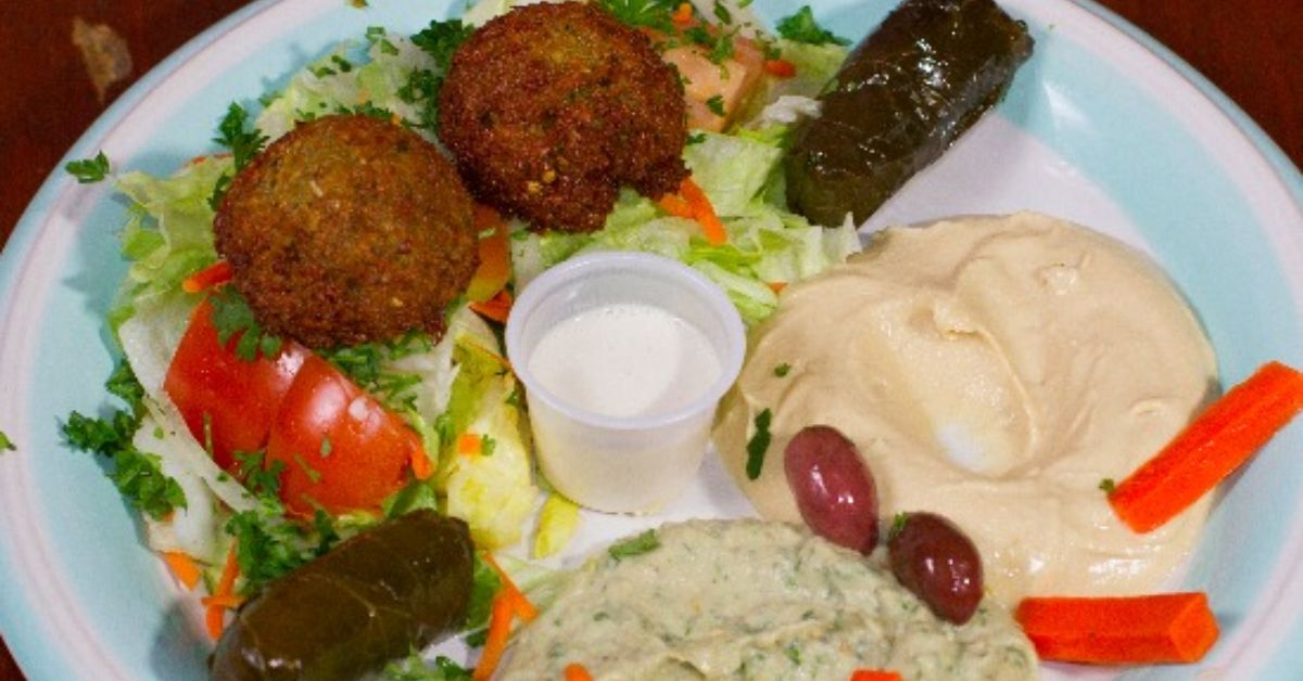 falafel and food on a plate