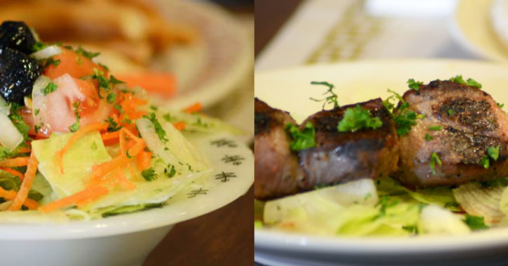 split image with salad on the left and lamb skewer on the right