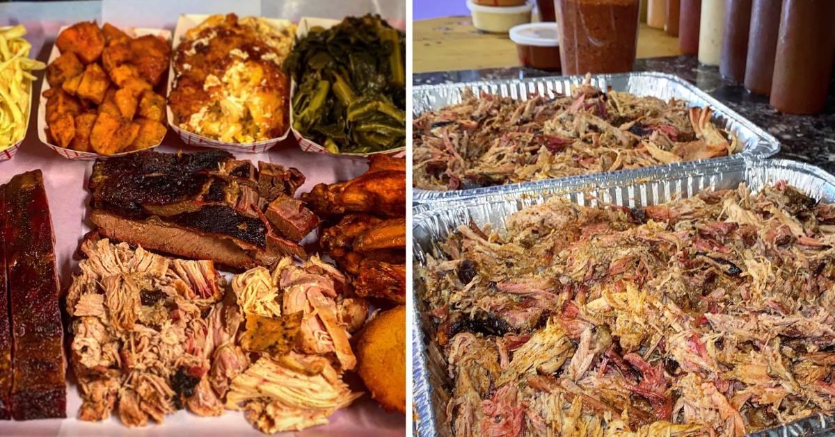 split image of BBQ food one on each side