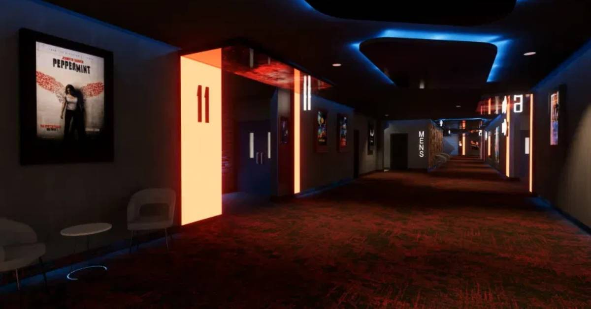 hallway at a movie theater