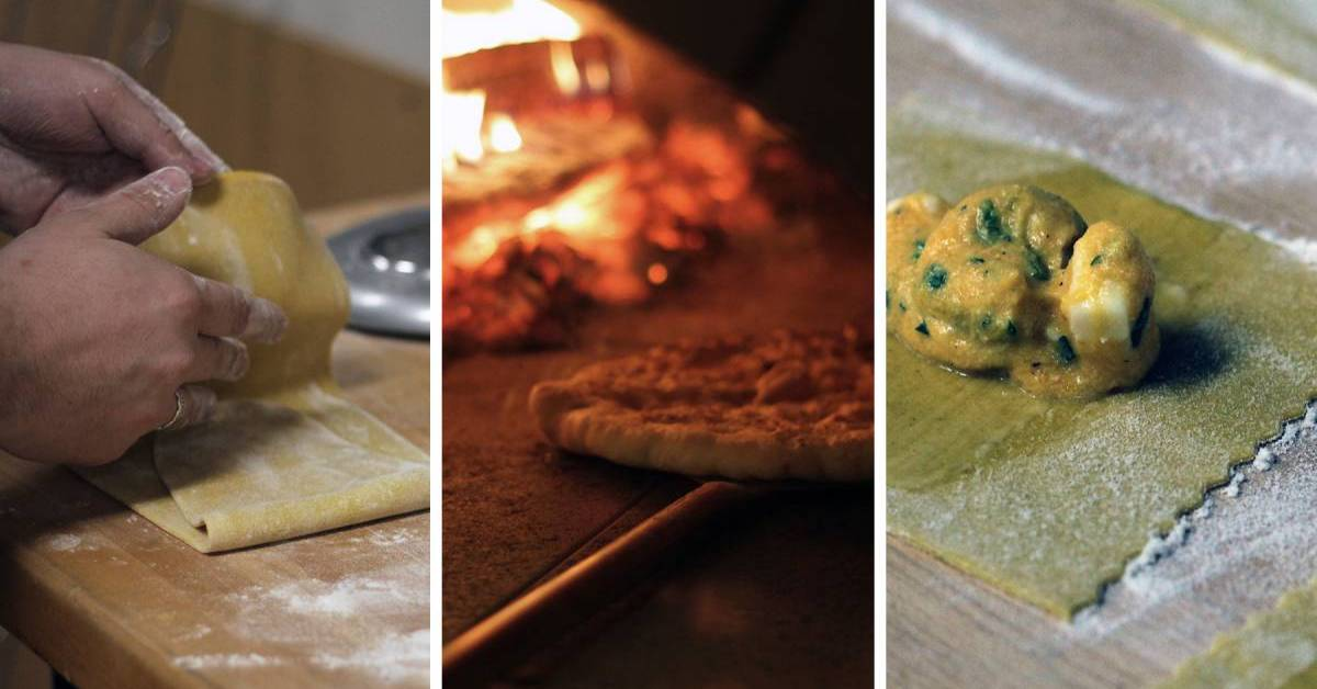 photos of pizza and chef making raviolis
