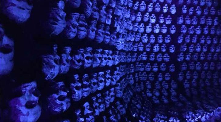 a wall of bluish purple skulls