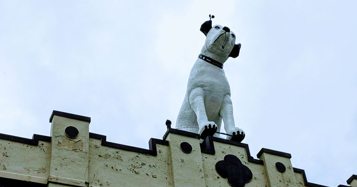 the Nipper dog on top of a roof