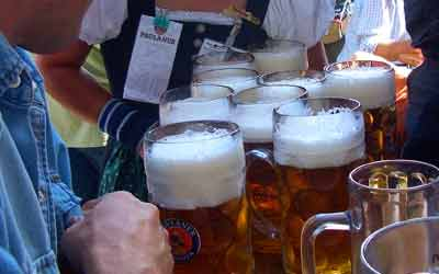 Frothy Beer At Oktoberfest