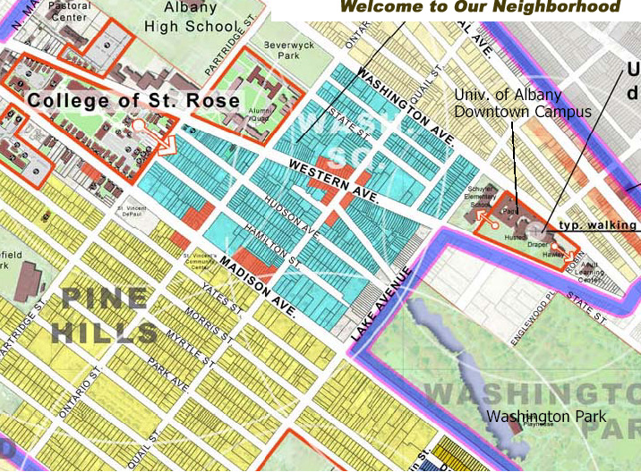 map of the Pine hills neighborhood