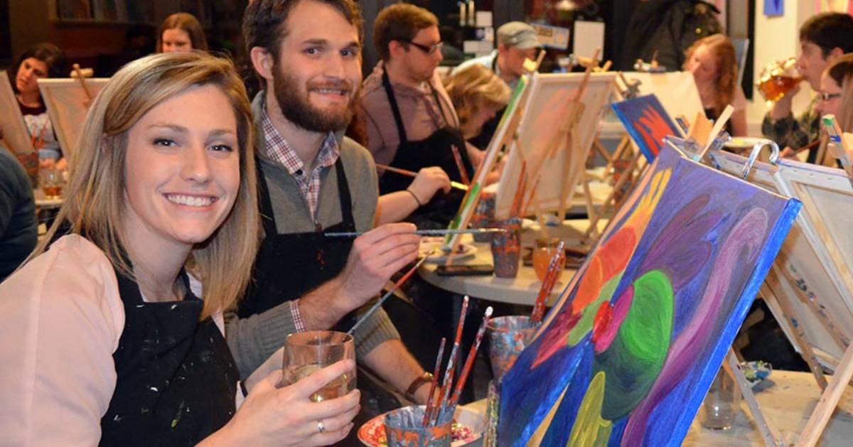 two people at a paint and sip