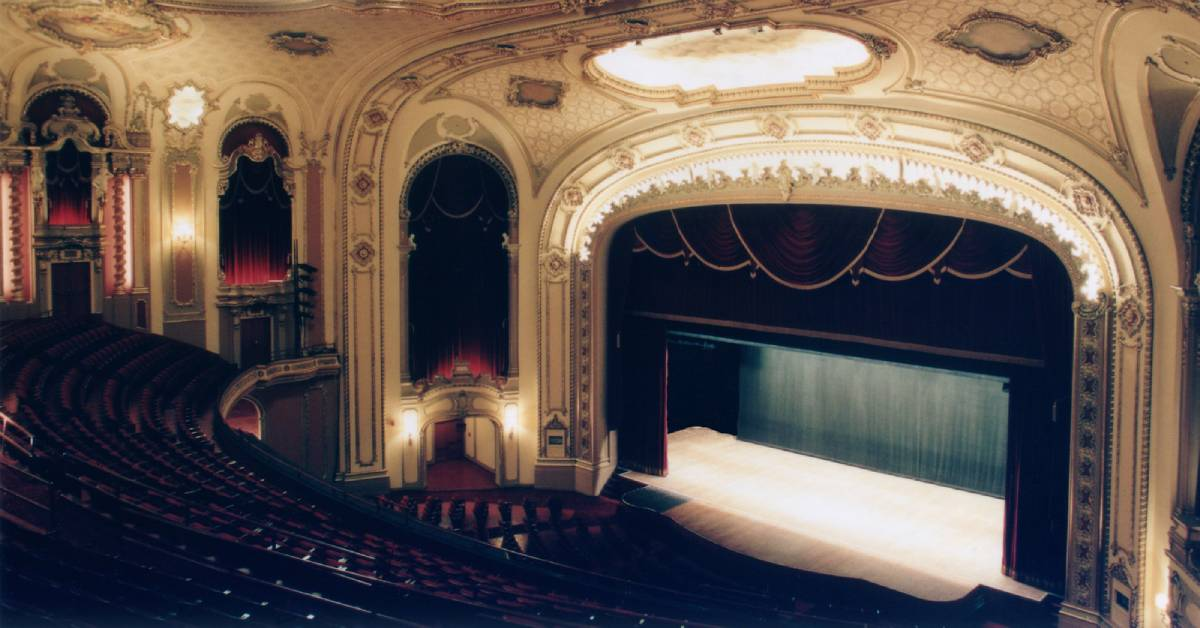seats and stage inside the palace theater