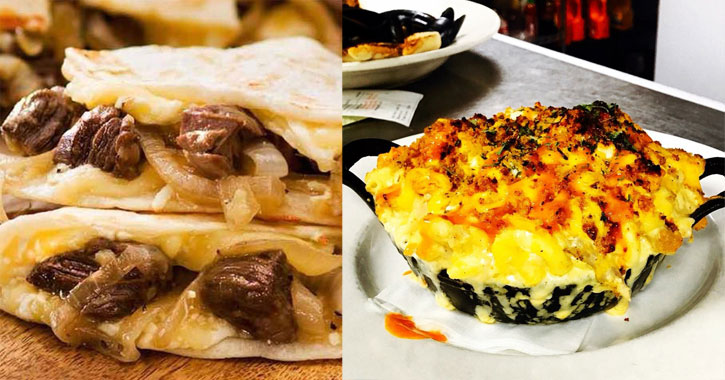 a split image with what looks like a steak quesadilla on the left and macaroni and cheese on the right