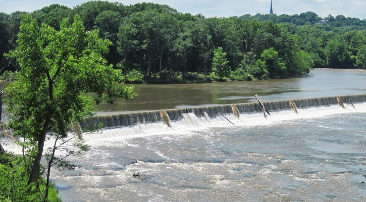 view of the falls at Peebles Island State Park