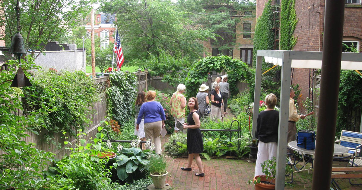 people in a garden