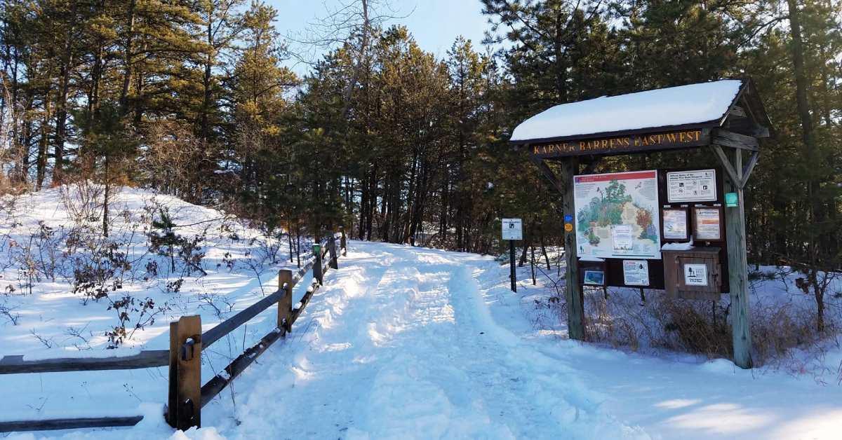 snowy route at a trailhead