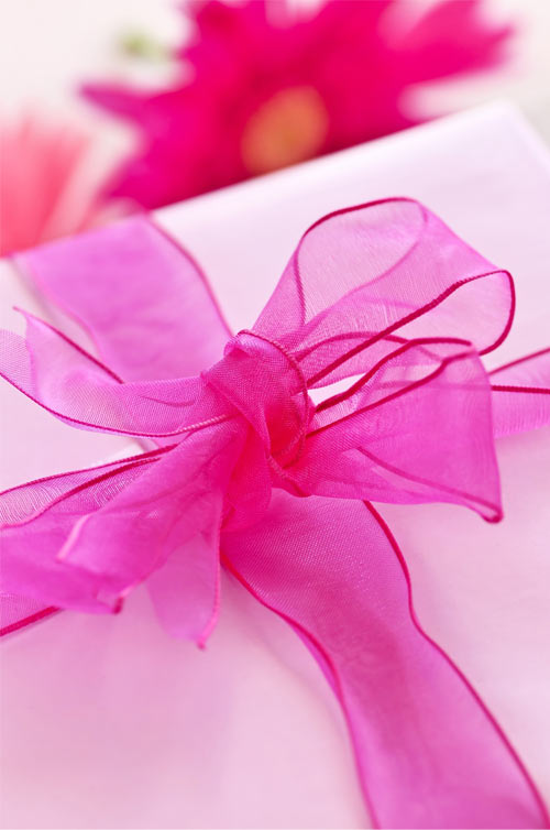 pink present and flowers