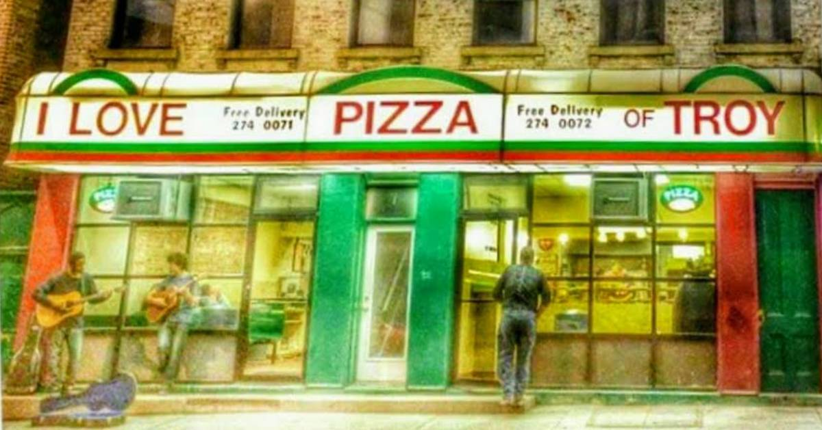 an artistic rendering of the front of I Love NY Pizza in Troy