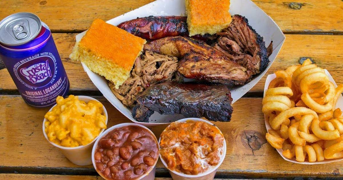 barbecue food on picnic table