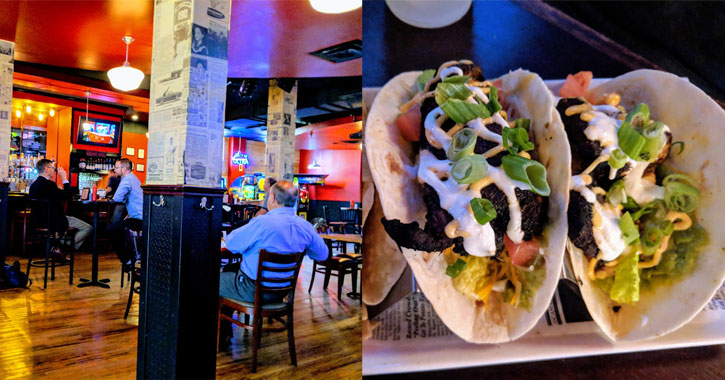 split image with the inside of the pub on the left and fish tacos on the right
