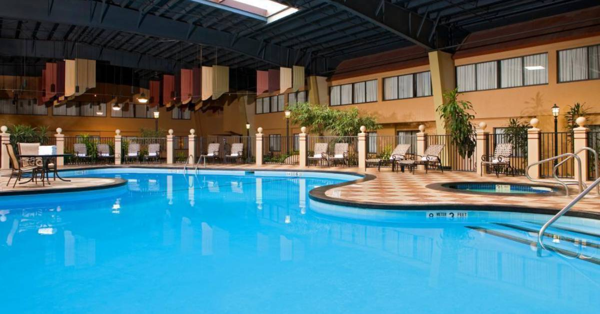 large indoor pool in a hotel