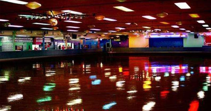 a colorful indoor skating rink