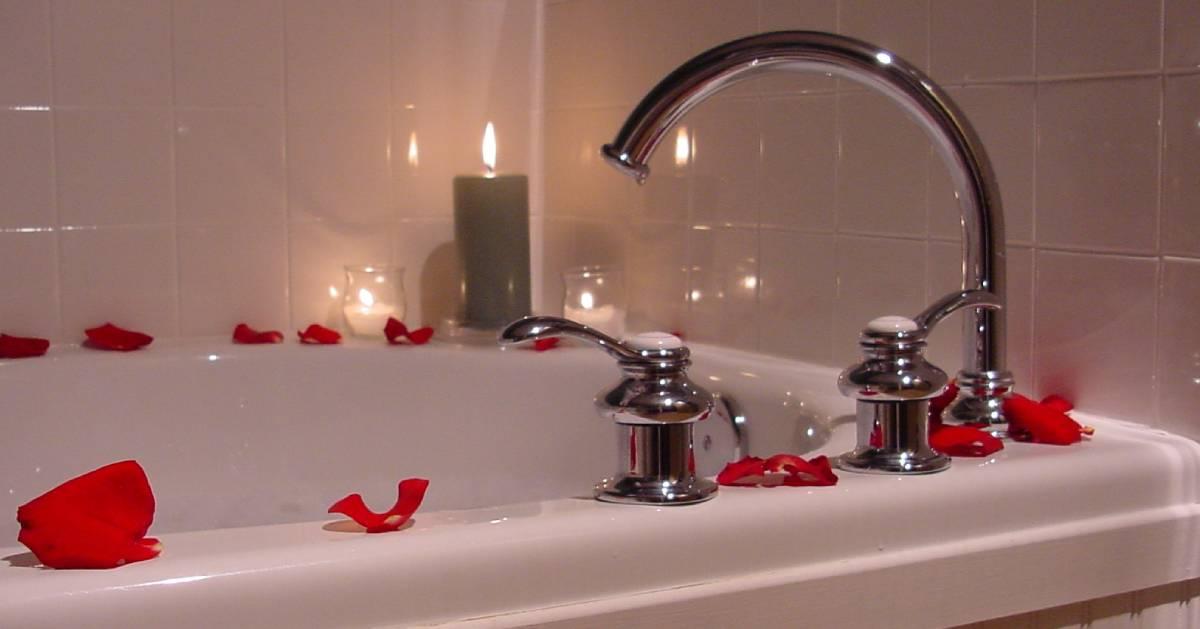 rose petals around a tub