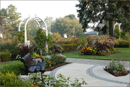 Park bench with concrete paths, arches, flower beds and trees surrounding it