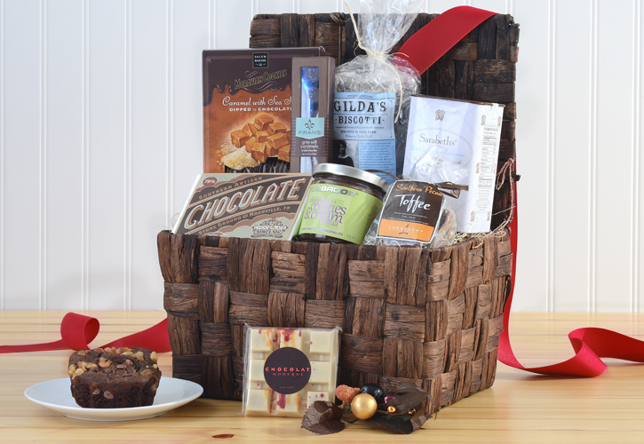 gift basket with chocolate, toffee, biscotti, and more