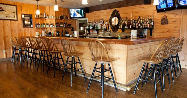 a wooden bar with stools