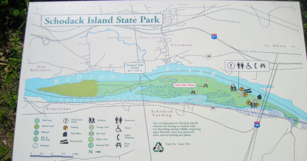 a map of Schodack Island State Park