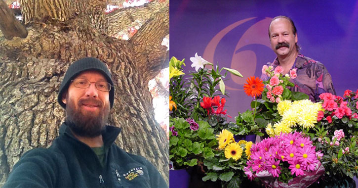 two side by side images of a man in front of a tree and a man behind a floral display