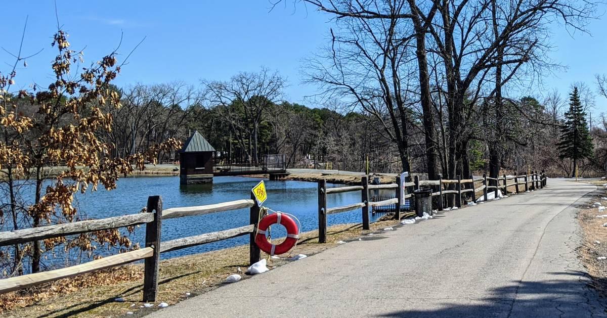 walkway by pond at Six Mile Waterworks