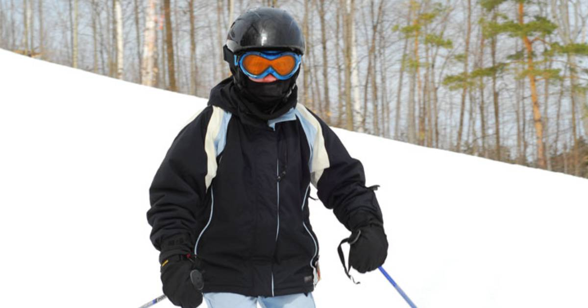 skier with ski gear on