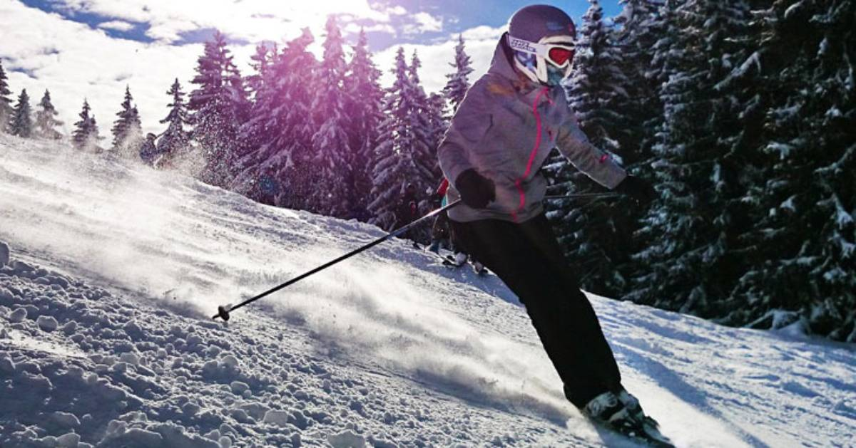 a skier going down a slope
