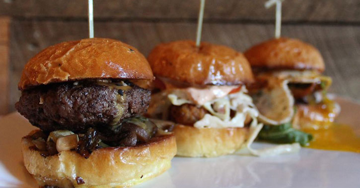 three burger sliders in a row