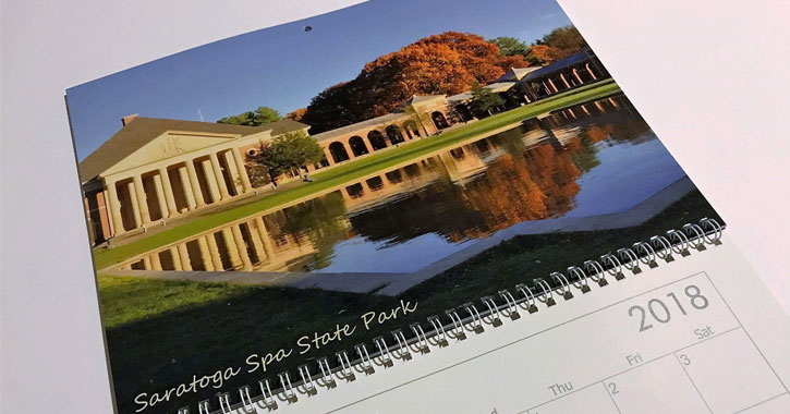 calendar with picture of Saratoga Spa State Park in the fall