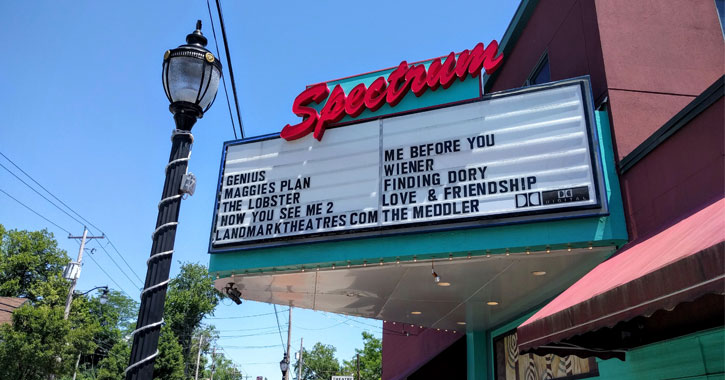 the outside sign of Spectrum 8 Theater
