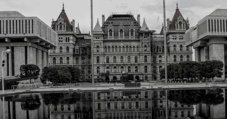 a black and white image of the Capitol building