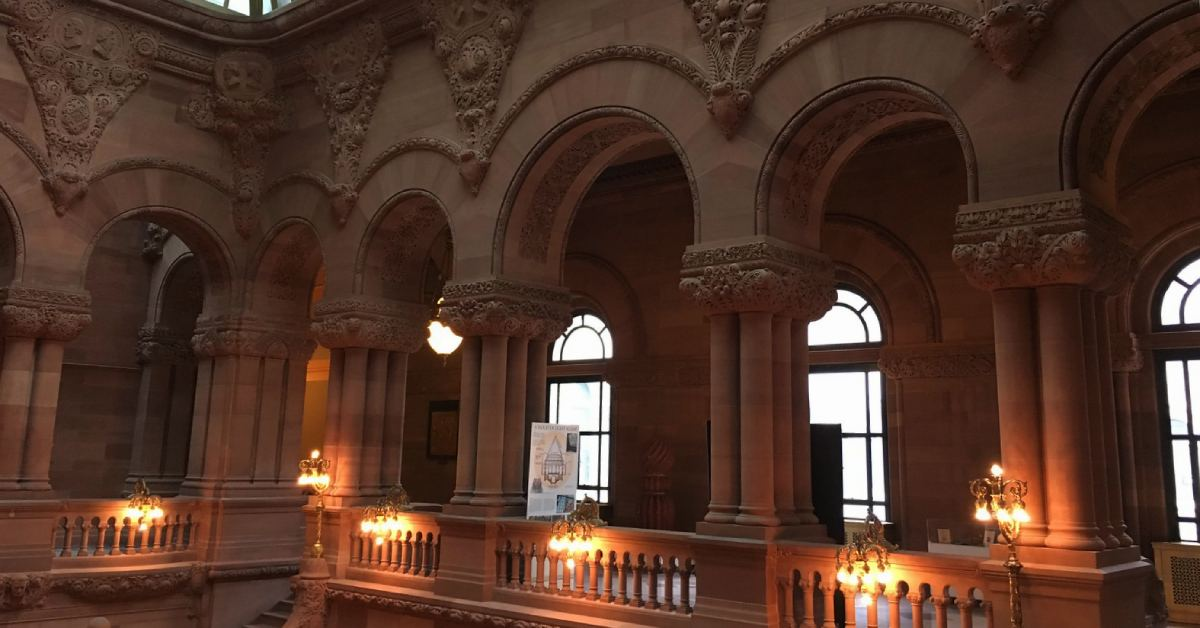 staircase and gallery in the new york state capitol